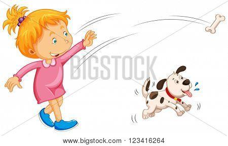 Girl throwing bone and dog catching it illustration