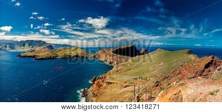 beautiful panoramic view at Ponta de Sao Lourenco - the most easterly point of Madeira Portugal