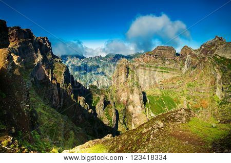 view of the mountains at the Pico do Arieiro surrounding areas Madeira Portugal