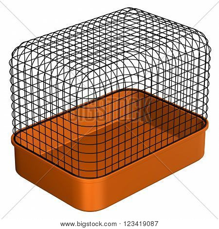 Pet Cage, isolated on white background. 3D render.