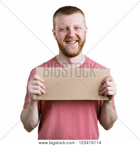 Funny bearded man with a cardboard sign in his hand
