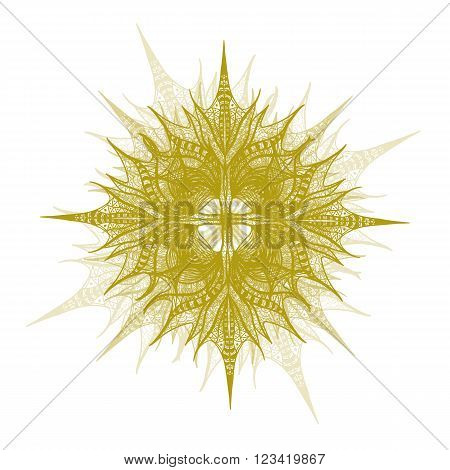 Yellow Vector Flower On White