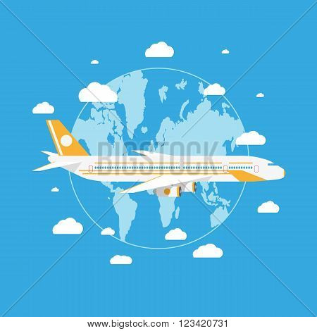 Cartoon passanger airplane flying above planet earth with white clouds in blue sky. vector illustration in flat design on blue background