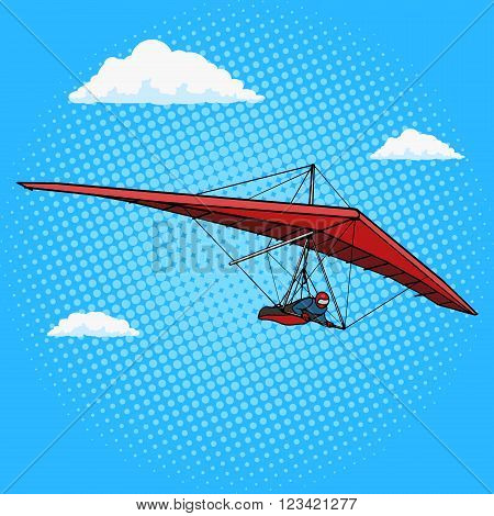 Hang glider pop art style vector illustration. Comic book style imitation. Vintage retro style. Conceptual illustration