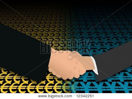 business handshake over euro and yen symbols illustration