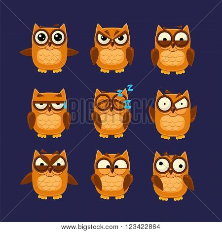 Brown Owl Emoji Collection Flat Vector Cartoon Style Funny Drawing On Dark Blue Backgroud