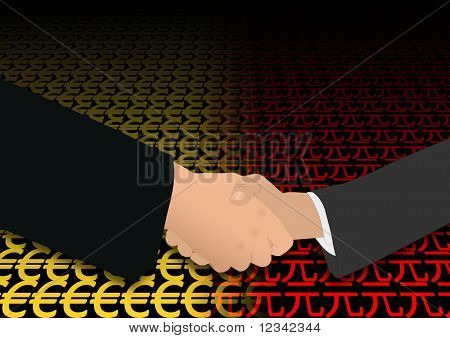 business handshake over euro and yuan symbols illustration