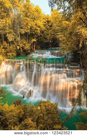 Waterfalls In Deep Forest at Huai Mae Khamin Waterfall in National Park Kanchanaburi Thailand