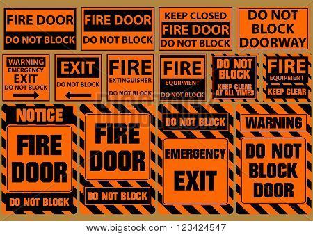 set of do not block door for emergency purposes (warning, notice, safety) flat vector illustration