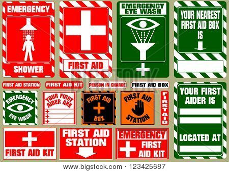 set of first aid medical signs. flat vector illustration