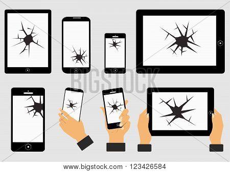 set of broken screen of smart phone and digital tablet. flat vector illustration