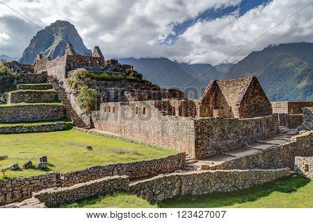 Ruins Of Old Buildings In Machu Picchu, City Of Incas In  Peru
