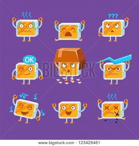 Little Robot Emoji Flat Vector Cartoon Style Funny Drawing On Violet Background