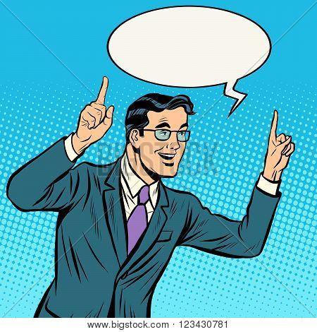 speaker politician man pop art retro style. Vector retro illustration. Speaker speaks emotionally