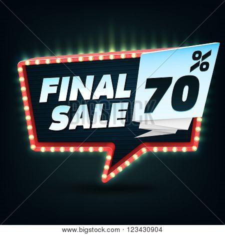 Final Sale Banner. Dark Discount Banner Template.