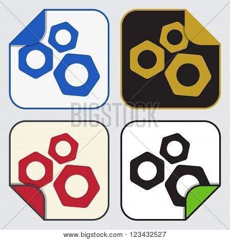 set of four colored variable square sticky icons with bent corner - nuts