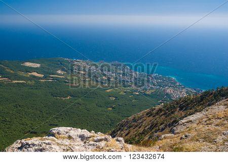 View on Crimean shore near Gaspra settlement from Ai-Petri mountain poster