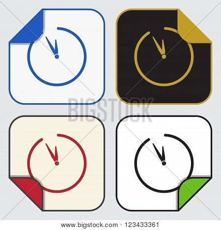 set of four colored variable square sticky icons with bent corner - last minute clock