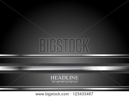 Minimal technology metallic abstract background. Silver metal stripes on black backdrop. HI-tech metallic vector illustration