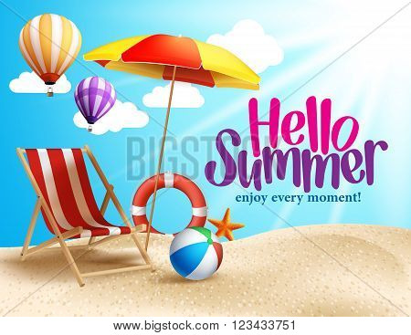 Summer Beach Vector Design in the Seashore with Beach Umbrella and Chair. Summer Background Vector Illustration for Beach Holidays