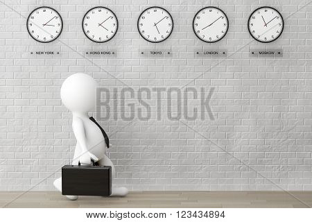 3d Businessman running with a Briefcase in front of Time Zone Clocks and brick wall. 3d Rendering