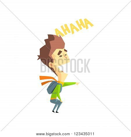 Laughing Boy Flat Vector Emotion Illustration In Graphic Style Isolated On White Background
