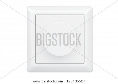 White Dimmer Light Switch on a white background. 3d Rendering