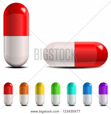 Pills and capsule set. Vector illustration isolated on white background.