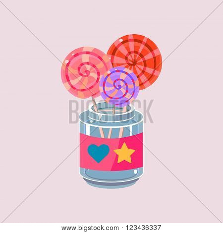 Lollypops In Jar Cartoon Style Flat Vector Design Illustration On White Background