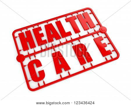 Plastic Model Kit with Health Care Sign on a white background