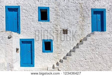 Traditional blue and white colors building on Kos island Greece