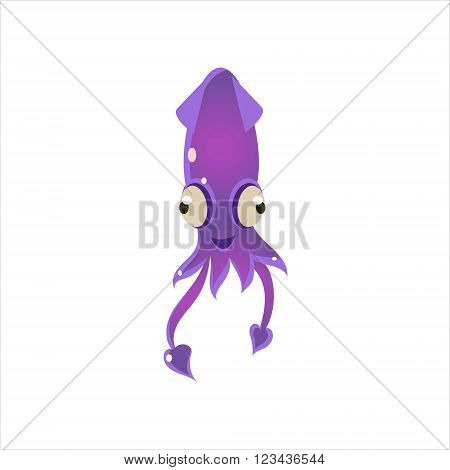 Puple Squid Character Isolated Flat Childish Colorful Vector Icon On White Background