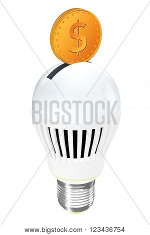 Energy Saving Concept. Led Bulb with Golden Coin on a white background