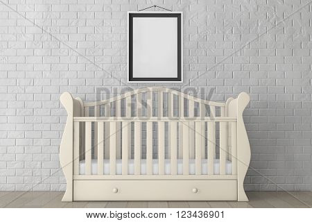 Baby Bed with Blank Photo Frame in front of Brick Wall. 3d rendering