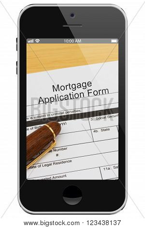 Applying for your mortgage on the Internet Mortgage Application Form with Pen on a cell phone display