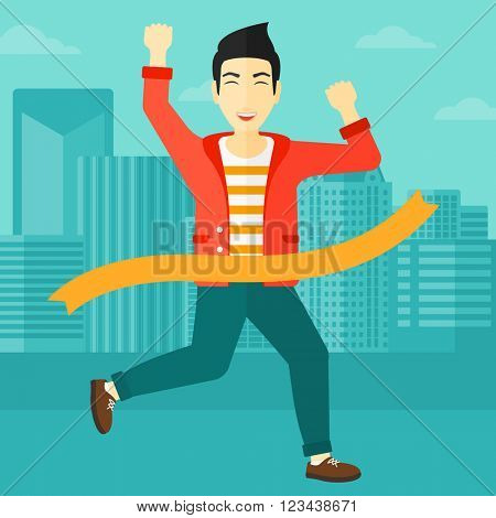 Businessman crossing finish line. poster