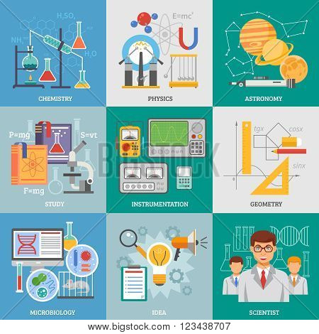 Exact science research 9 flat icons composition poster with chemistry physics astronomy symbols abstract isolated vector illustration