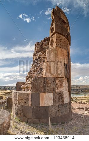 Chullpas Giant Cylindrical Funerary Tower Built By A Pre-incan At Ancient Burial Ground With People