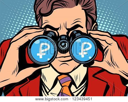 Monitoring ruble currency exchange rate pop art retro style. A man looks through binoculars. The trader on the exchange