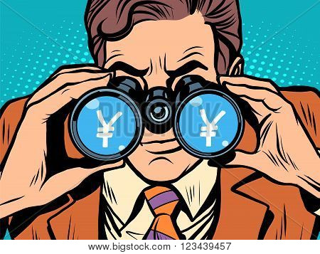 Monitoring yen currency exchange rate pop art retro style. A man looks through binoculars. The trader on the exchange