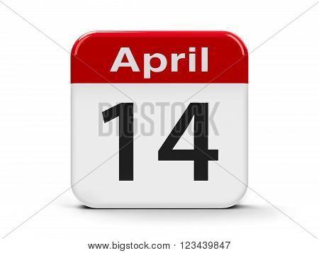 Calendar web button - Fourteenth of April three-dimensional rendering, 3d illustration
