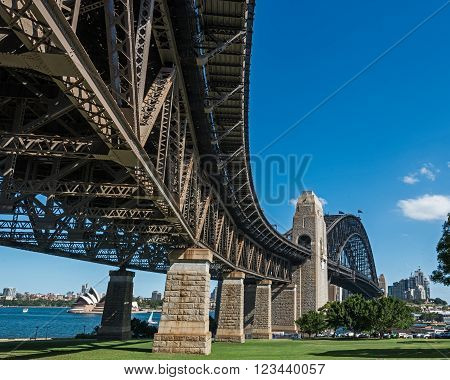 Sydney skyline and Harbor Bridge shot from Kirribilli over the water with city skyline in background