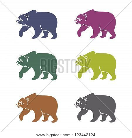 The image of the bear forest wild beast. Animal pattern on a white background different shortcuts and symbols. Vector illustration (characters in the form of contours of a bear)