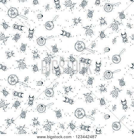 Seamless Patterns With Bugs And Loupes. Little Explorer.