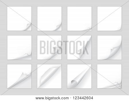 Page curl vector. Big set of page turn corner. Page curl corner vector isolated. Template page curl. Note paper with curled corner. Blank note page. Vector page.