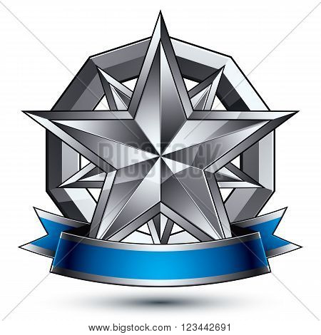 Glamorous Vector Template With Polygonal Silver Star Symbol, Best For Use In Web And Graphic Design.