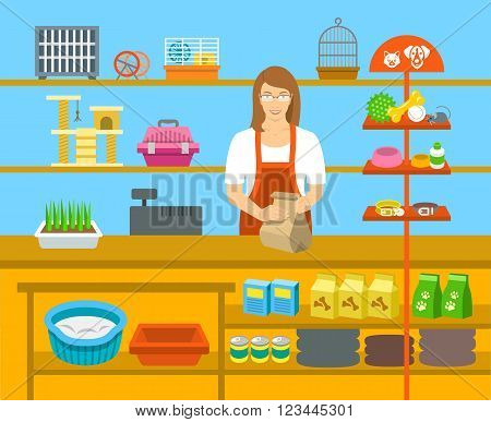 Pet shop seller at a counter in a store opposite shelves with pets care goods. Flat vector illustration. Small business owner at work concept. Accessories for animals care food cage collars etc.