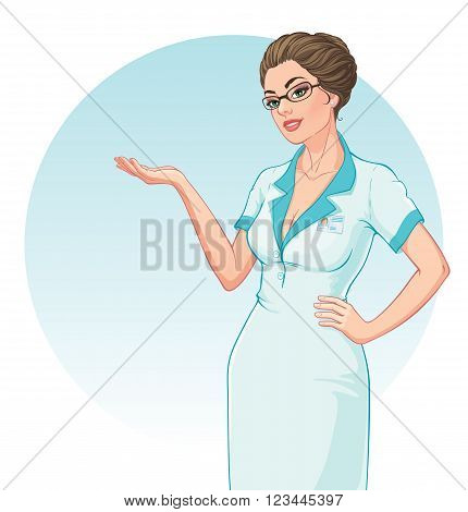 Vector illustration. Attractive young doctor showing or explains something. Isolated on white background
