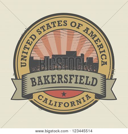 Grunge rubber stamp or label with name of Bakersfield, California, vector illustration