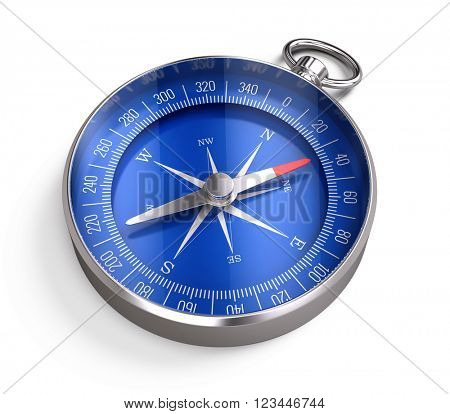 Compass isolated on white background.3D rendering
